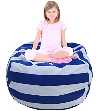Stuffed Animal Storage Bean Bag Chair With Extra Long Zipper And Premium  Canvas By EDCMaker