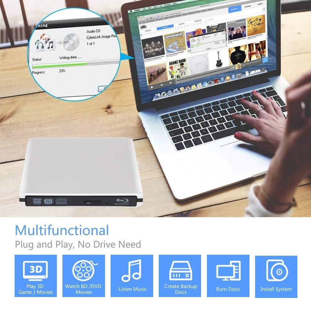 External 4K 3D Blu Ray DVD Drive, Portable USB 3.0 Blu Ray DVD Burner Player Reader Disk for Mac OS, Windows 7/8/10,Linxus, Laptop by MOGLOR (Image #5)