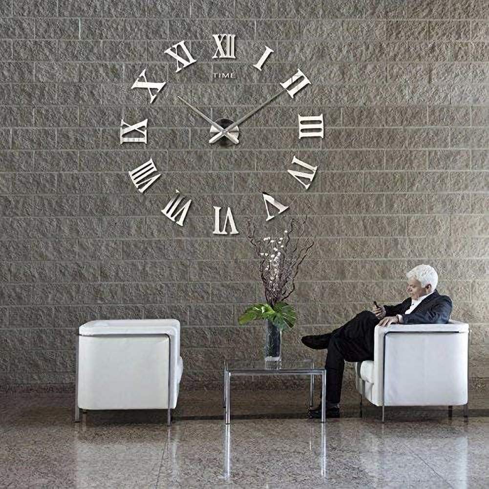 Leezo Nouveaut/é Horloge Murale 3D DIY Moderne Chiffres Romains Salon Horloge D/écoration de La Maison Grand Salon Creative Horloge Murale Chiffres Romains
