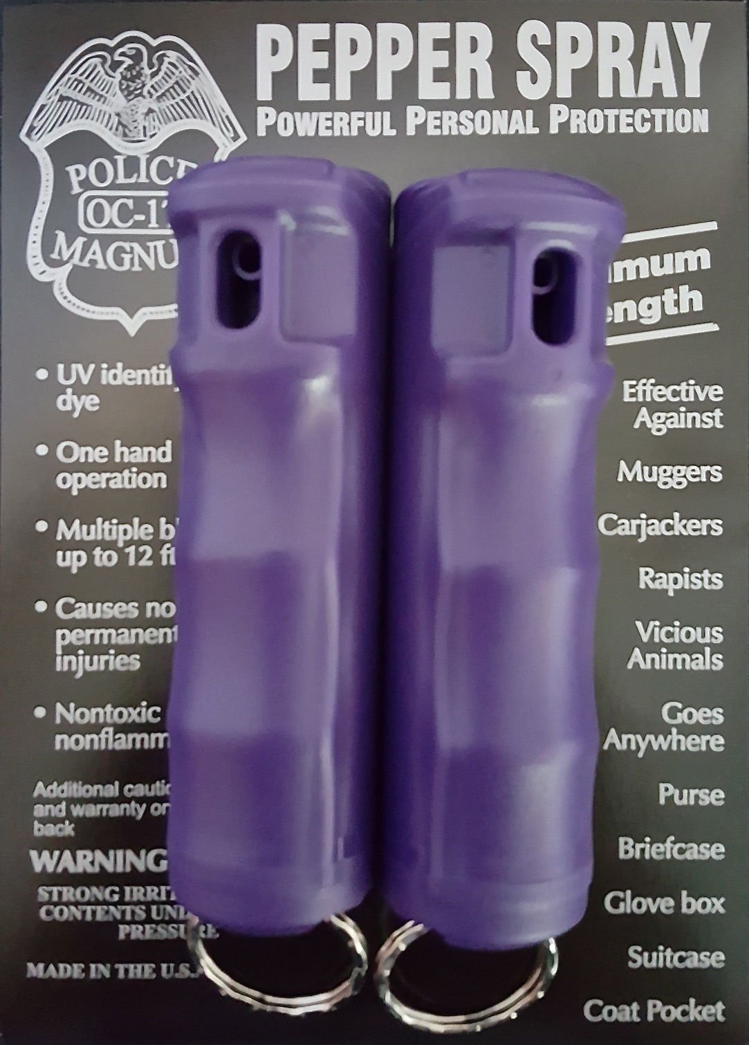 2 POLICE MAGNUM PEPPER SPRAY 1/2oz PURPLE Flip Top Molded Keychain Security Self Defense Police Strength by Police