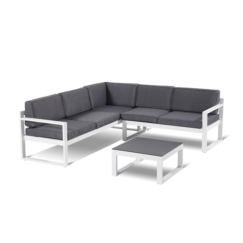 Hartman Perpignan Lounge 3teilig Aluminium Weiß Sitzkissen Grau