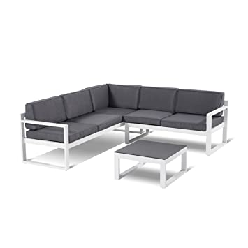 Hartman Perpignan Salon 3 pièces Aluminium Blanc Coussin d\'assise ...