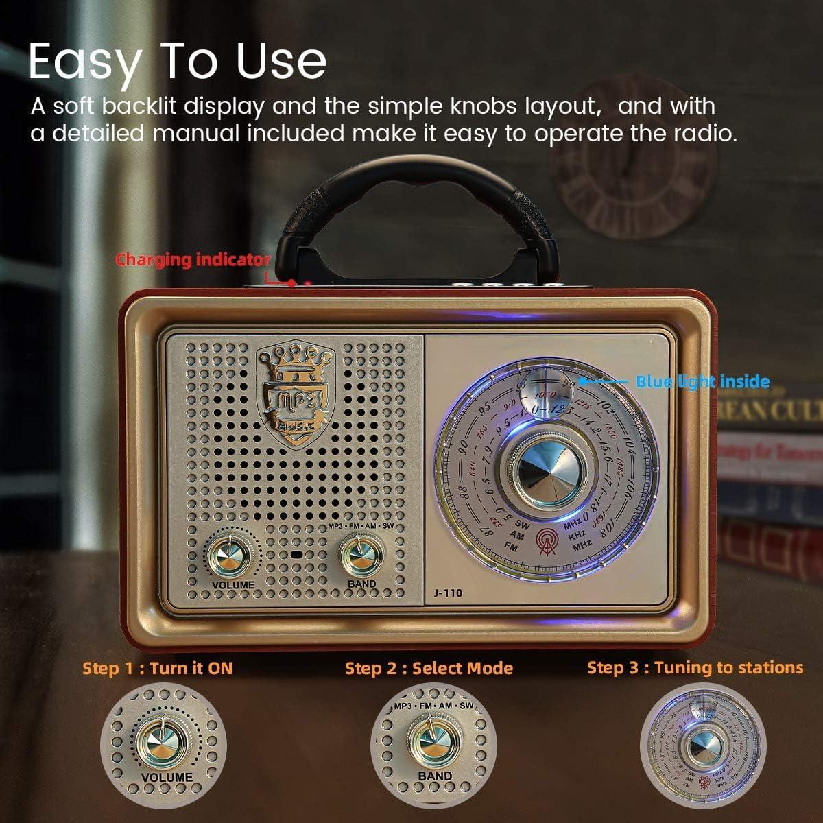 Tarjeta AUX TF Disco USB Reproductor De MP3 WYYZSS Radio Retro Bluetooth Am FM Radio Port/átil Radio CA De Sobremesa Radio De Sobremesa Vintage con Escala De Frecuencia Grande