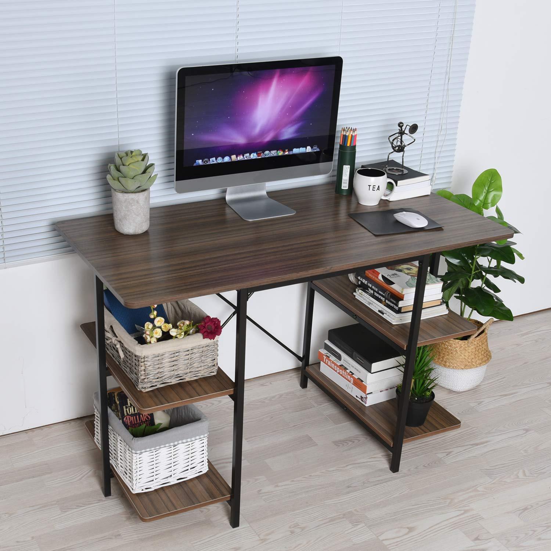 GreenForest Computer Desk with Shelves 47 Inch Large Desktop Home Office Desk Workstation, Walnut by GreenForest (Image #4)