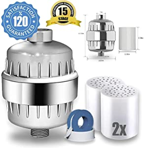 High Output Revitalizing 15 Stage Shower Filter - Reduces Dry Itchy Skin, Dandruff, Eczema, Dramatic Improves Your Skin, Hair and Nails - Chrome (15 Stage ShowerFilter Extra Cartridge included)