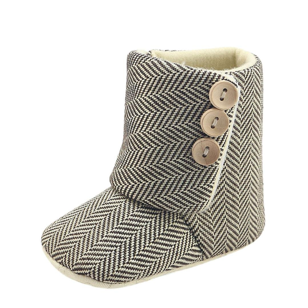 Goodtrade8 GOTD Newborn Baby Girls Boys Snow Boots Winter Warm Toddler Shoes Beige)
