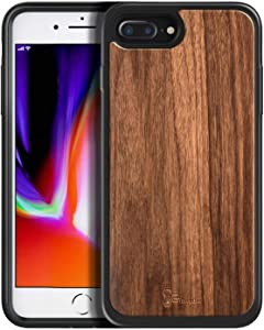 iPhone SE 2020 Case, iPhone 8 Case, iPhone 7 Case, iPhone 6/6s Case, E-Began [Real Natural Walnut Wood, Every Piece is Unique], Shockproof Protective Rugged Phone Case -Wood