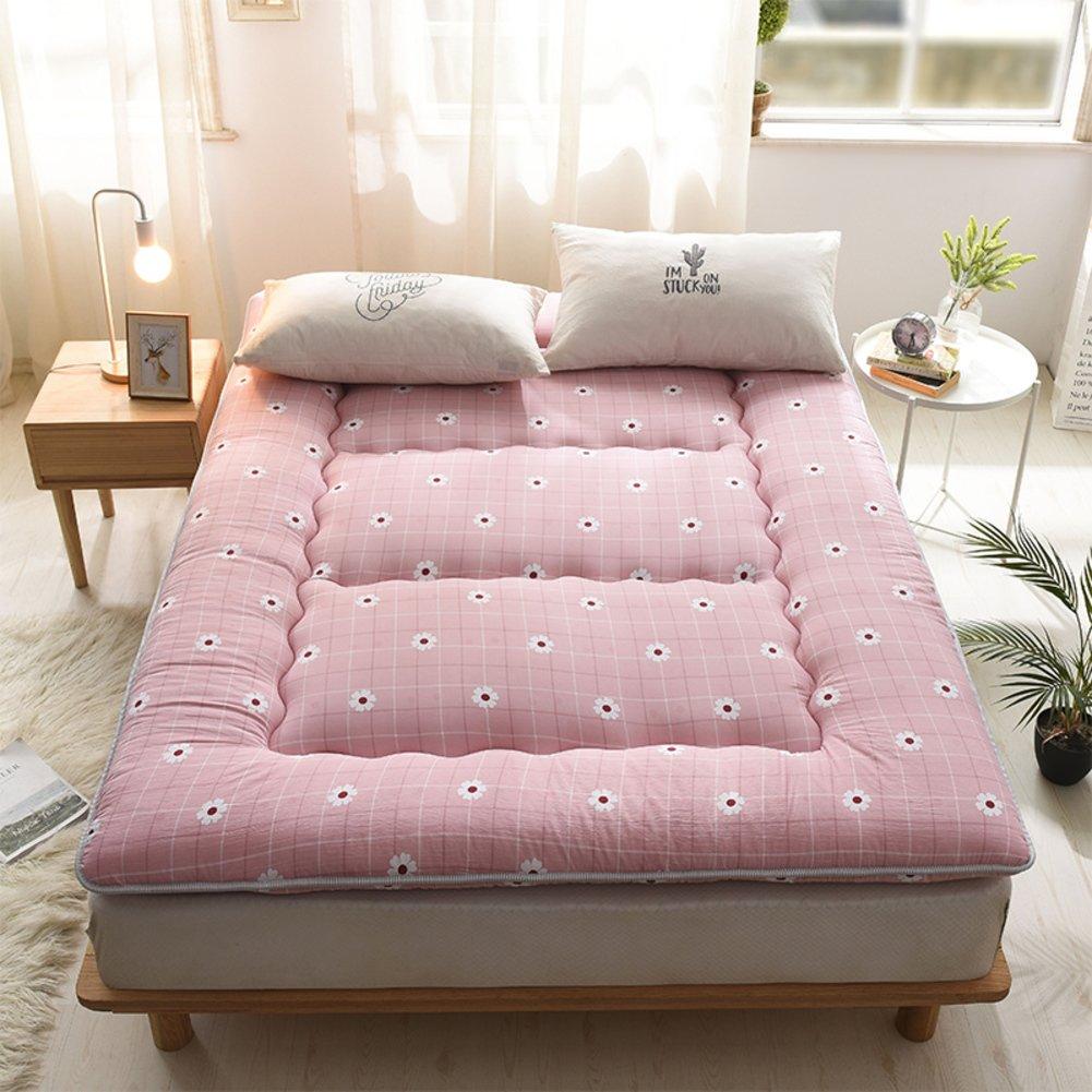 Pink Twin 90×200cm Japanese Tatami Traditional Futon Mattress,Soft Thicken 10cm Foldable Sleeping Mat Student Dormitory-Yellow 100x200cm(39x79inch)