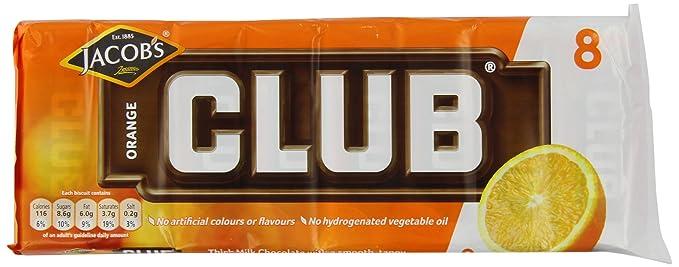 Jacobs 8 Orange Club Chocolate Bar Pack Of 5
