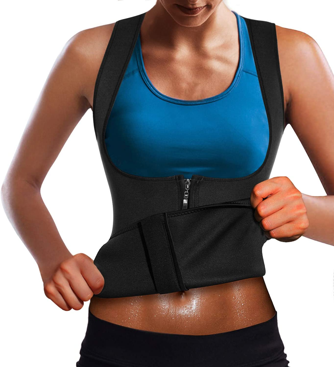 Wonderience Women Neoprene Sauna Suit Waist Trainer Vest for Weight Loss Hot Thermal Corset Body Shaper Zipper Tank Top Workout Shirt
