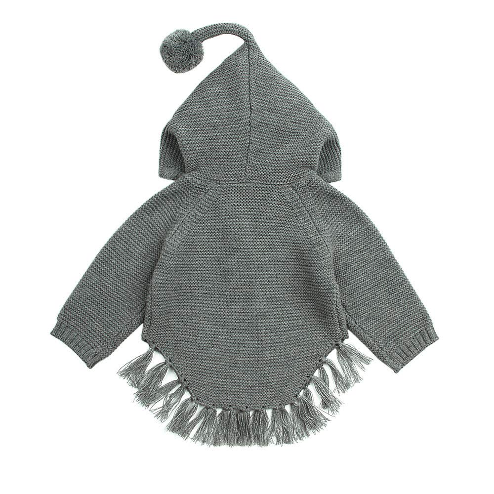 KONFA Toddler Baby Boys Girls Tassels Hooded Sweater Pullover,Kids Warm Knitted Blouse Tops Autumn Winter Clothing