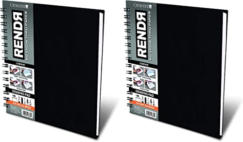 Crescent Creative Products 8-inch RENDR Wire-Bound Sketchbook, 8 x 8 wo ack