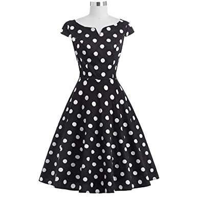 Trendy-Nicer Women V Neck Hepburn 50s Rockabilly Pin up DressParty Tunic Vestidos,1