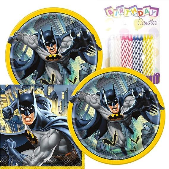 Batman tema platos y servilletas sirve 16 con velas de ...