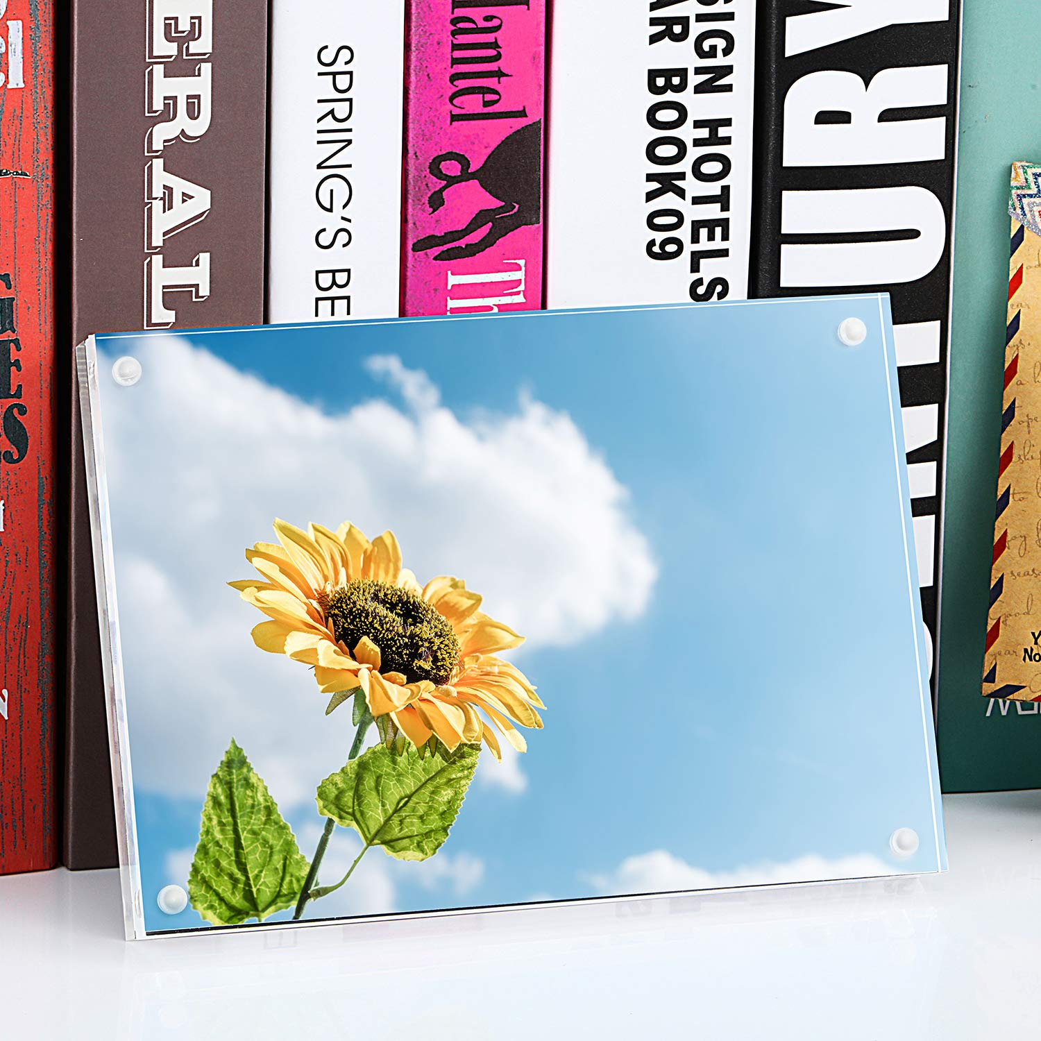 ONE WALL Acrylic Picture Frame 4x6 Inch Magnetic Clear Photo Frame Free Standing for Tabletop Desktop Display