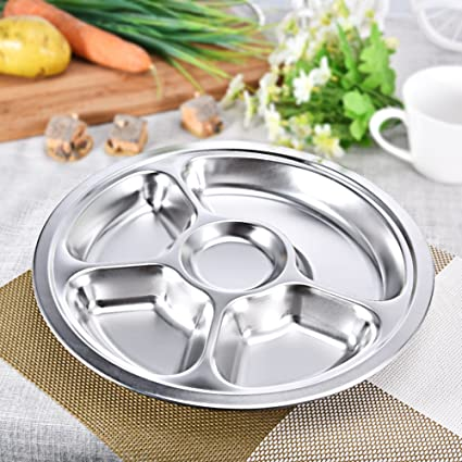 Stainless Steel Divided Dinner Plate 5 sections Mess Trays Great for C&ing Kids Lunch and & Amazon.com | Stainless Steel Divided Dinner Plate 5 sections Mess ...