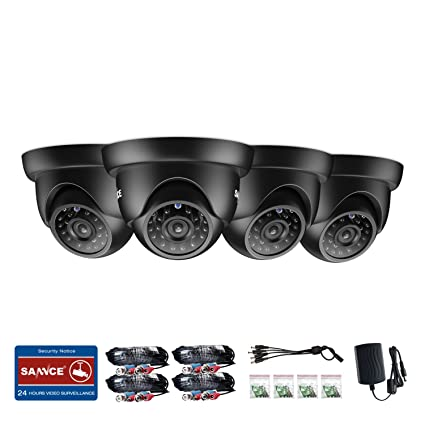 SANNCE 4X 720P Cámara Domo de Vigilancia CCTV IR-Cut + 4pcs 60ft Cable de
