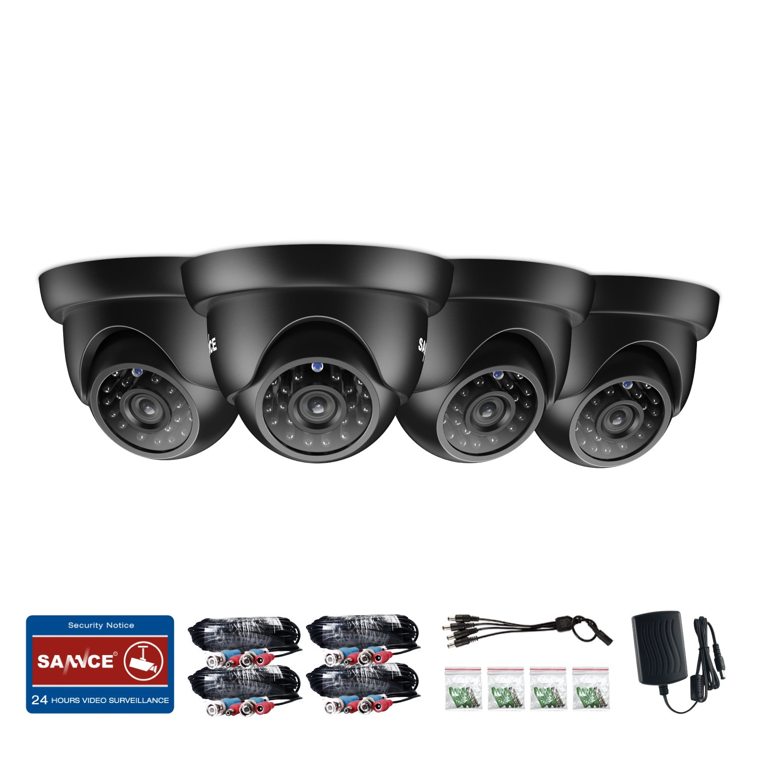 SANNCE 4 Pack 1/3'' 1500TVL HDTVI 720P High Resolution Security Surveillance CCTV Camera Kit HD Had IR Cut 3.6mm Lens Outdoor Dome Weatherproof Wide Angle