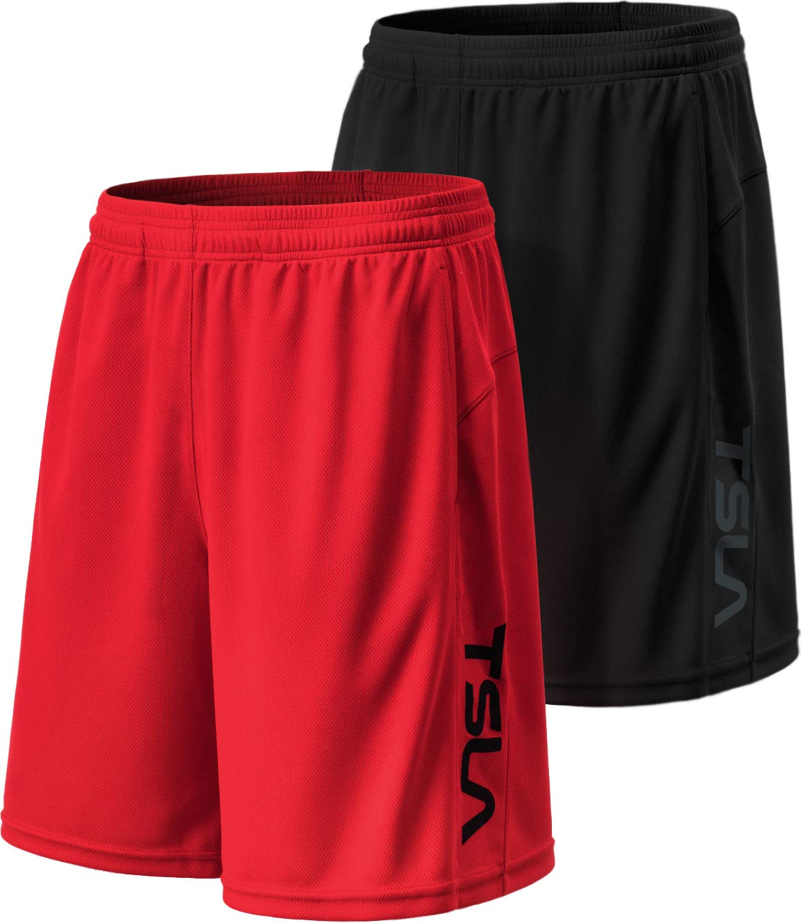 TSLA Men's HyperDri Cool Quick-Dry Active Lightweight Workout Performance Shorts (Pack of 2), Hyper Dri Dual Pack(mbh22) - Black/Red, Small