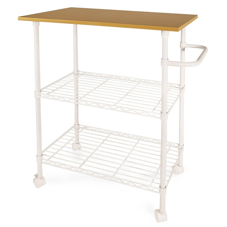 casa pura Toledo 3 Tier Kitchen Storage Trolley with Wooden Worktop | White - 60 x 40 x 87cm