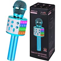Blue Haoun Kid/'s Karaoke Machine Children Karaoke Disco Singing Toy,2 Microphones Adjustable Stand,Connect to Phones MP3 Players,Christmas Birthday Gift for Girl Boy