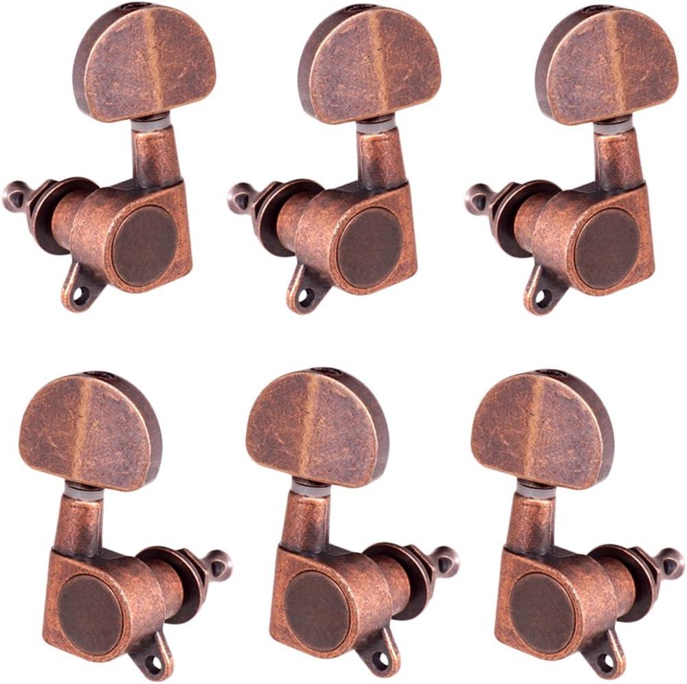 Rojo Cobre Sellado Acústico Guitarra Eléctrica Afinación Pernos Sintonizador Botón - 3r3l