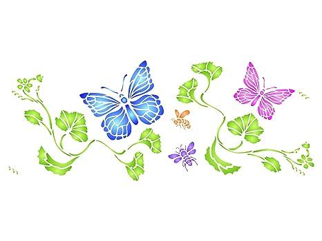 Plantilla de mariposas para decoración de pared, 42 x 16,5 cm