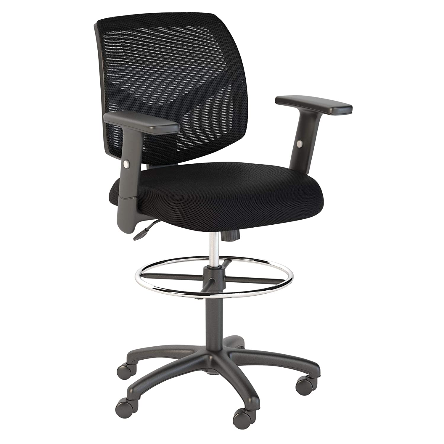 Bush Business Furniture Petite Mesh Back Drafting Chair with Chrome Foot Ring in Black