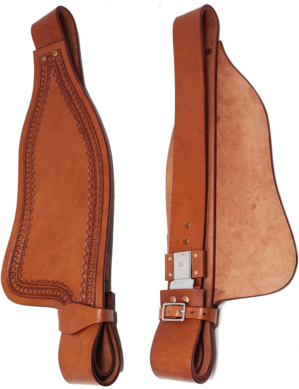 CHALLENGER Horse Western Adult Tooled Leather Replacement Saddle Fender Pair 5222DT