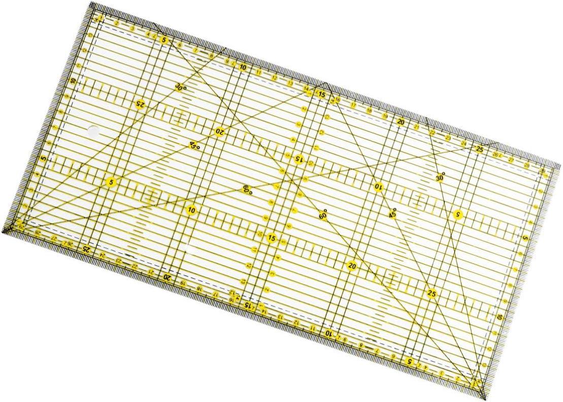 f/ür Quilten N/ähen und Basteln Patchwork-Lineal Heally Quilter-Lineal mit zweifarbigen und Gitterlinien rutschfest