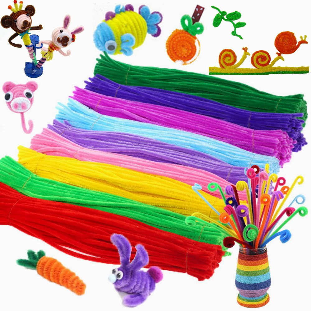 Craft Pipe Cleaners Set Chenille Stem 6 mm x 12 Inch DIY Art Craft Supplies Decorations 10 colors (1000 pcs)