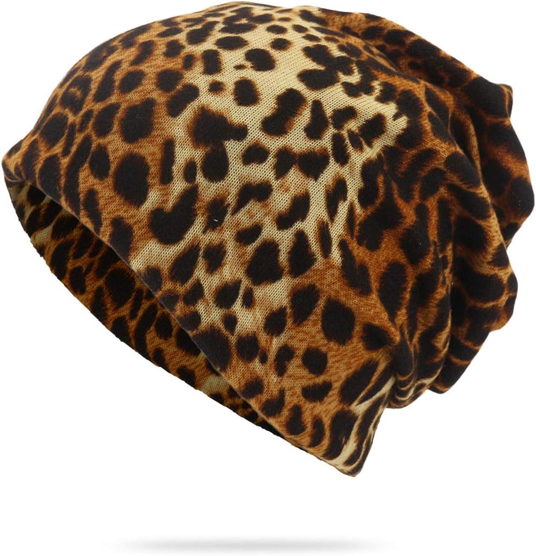 MEIZOKEN Unisex Leopard Skullies Beanie Thin Breathable Knitted Caps for Hedging Cap Bonnet Hat Spring Autumn