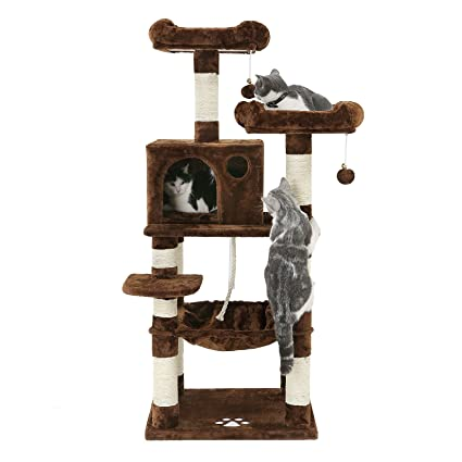 "5c65ceddbde2 FEANDREA 58"" Multi-Level Cat Tree with Hammock, Cat Tower for Large  Cats"