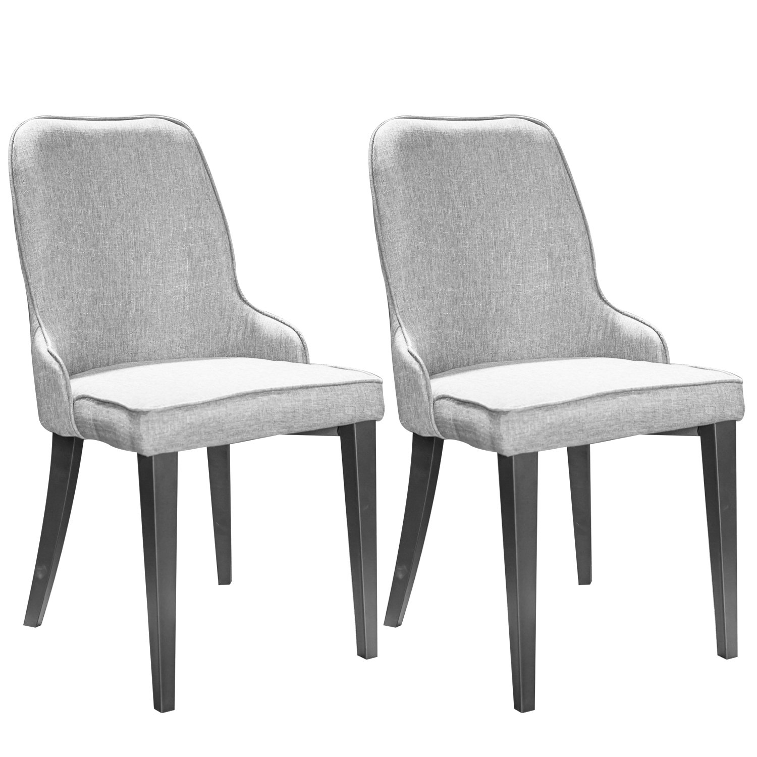 Merax Set of 2 Metal Dining Chairs with Padded Seat and Back (Grey)