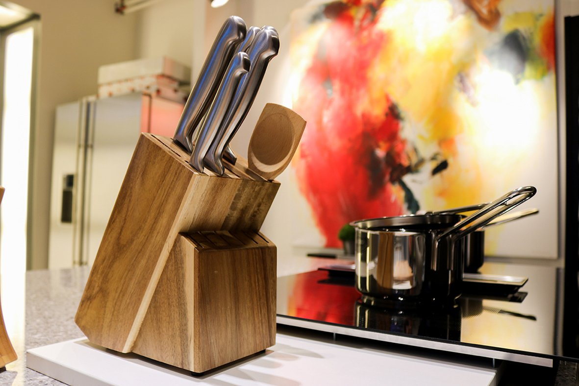 15 Slot Acacia/Rubber Wood Knife Block Without Knives By Coninx. Universal Knife Storage And Holder Organizer (Acacia) by Coninx (Image #5)