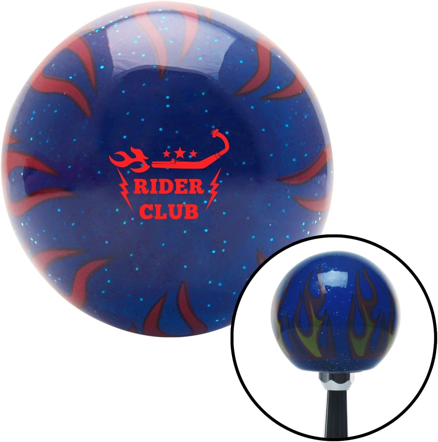 American Shifter 298093 Shift Knob Red Rider Club Blue Flame Metal Flake with M16 x 1.5 Insert
