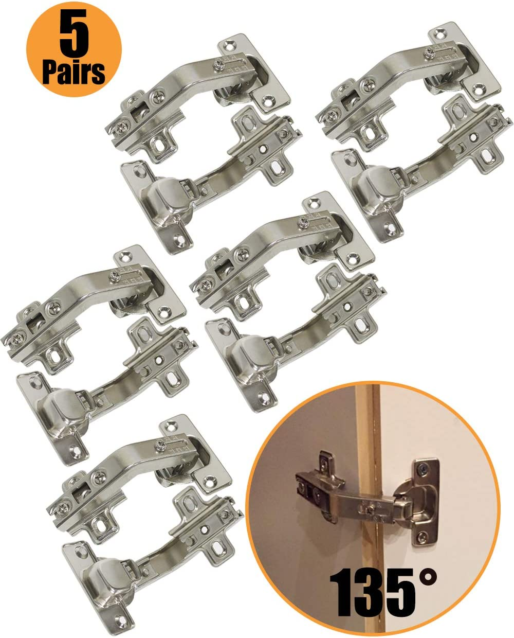 Probrico 10PCS Soft Close Cabinet Hinges 165 Degree Clip On Concealed Hinges 35mm Used for Frameless Cabinet Door Full Overlay Folding Combination Kitchen Cupboard Hinges Zinc Plated