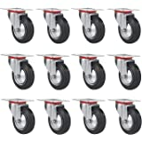"Online Best Service 12 Pack 3"" Swivel Caster Wheels Rubber Base with Top Plate & Bearing Heavy Duty"