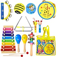 ToyerBee Musical Instruments Toys Set for Kids, 15PCS Wooden Percussion Instruments for Toddlers, Preschool& Educational…