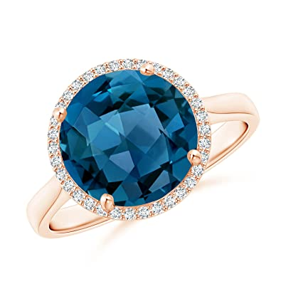 Angara Cocktail Ring with Natural London Blue Topaz in Rose Gold 2FWgjXaRk1