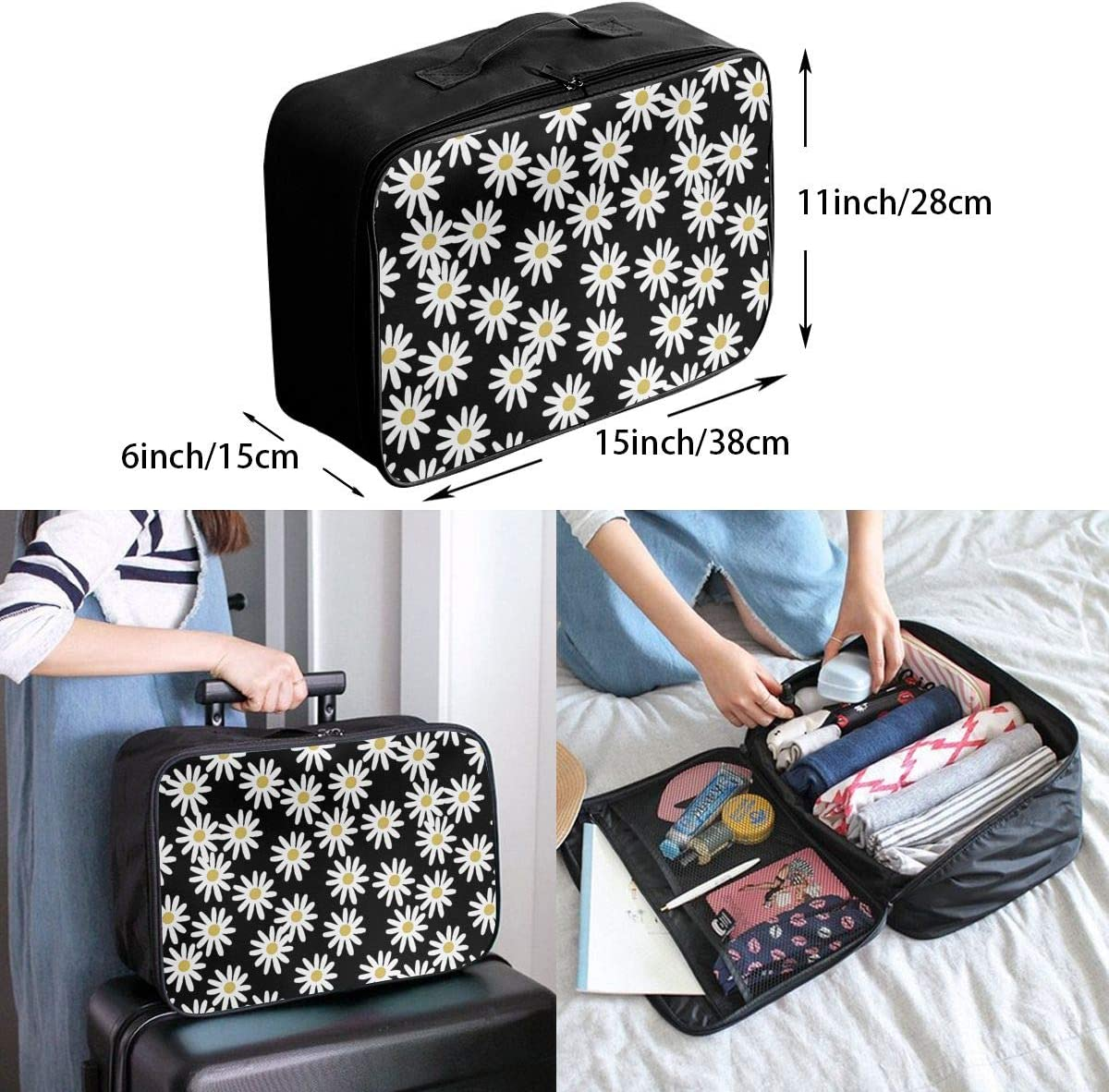 Love Daisy Floral Travel Carry-on Luggage Weekender Bag Overnight Tote Flight Duffel In Trolley Handle