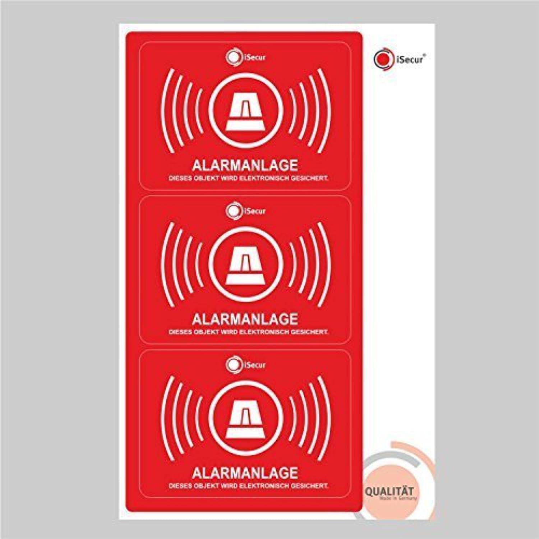 3 Stück Aufkleber Alarm, iSecur, alarmgesichert, 70x50mm, Art. hin_121_innen, Hinweis auf Alarmanlage, innenklebend für Fensterscheiben, Haus, Auto, LKW, Baumaschinen