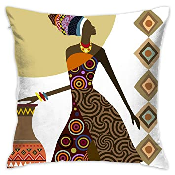 NEHomer African Women Clip Art Hold Pillow Home Square Cotton Polyester  Fleece+ Polyester Cotton Sofa Decorative d2701d409