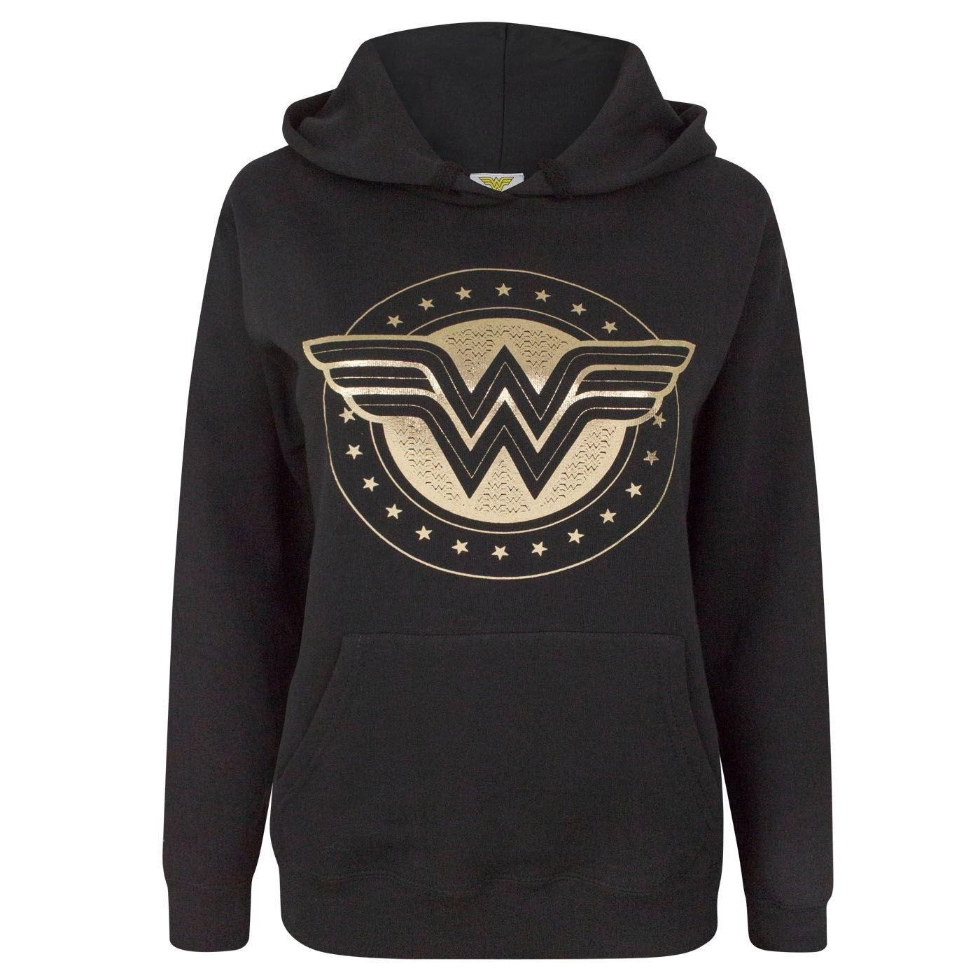TALLA L. Wonder Woman Foil Shield Women's Hoodie