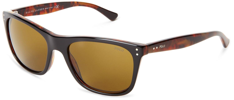 Polo Men's PH 4071 Casual Logo Rectangular Sunglasses POLO RALPH LAUREN Unisex Adults' 0Ph4071 538373 55 Sunglasses (Black Havana/Brown) MOD.4071SUN_538373-55