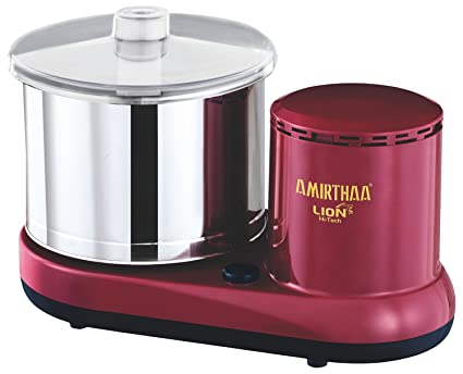 AMIRTHAA LION Table Top Wet Grinder - 2 Liter (Wine Red)