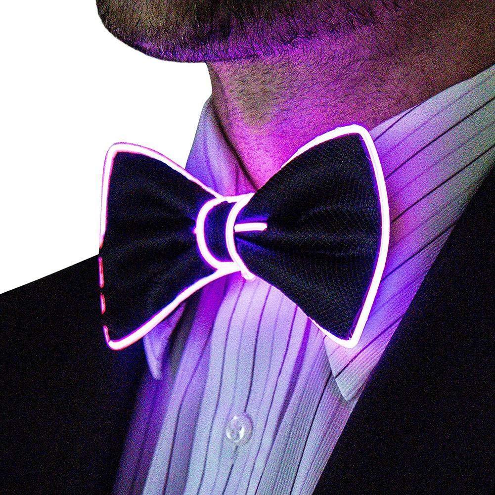 DEQUATE LED Luminoso Corbatas Ajustable Corbata de mo/ño Decoraci/ón para Disfraces fiesta//fiesta de cumplea/ños//Halloween//Carnaval//Cosplay show//bar show//noche show