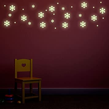Supertogether Glow In The Dark Snow Flake Wall Stickers   Frozen Bedroom  Theme Repositionable Decals (