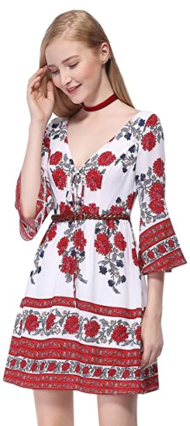 d4eaa9b66c986 Alisa Pan Womens Floral Printed Long Sleeve V-Neck Wedding Guest Dress 4 US  Red