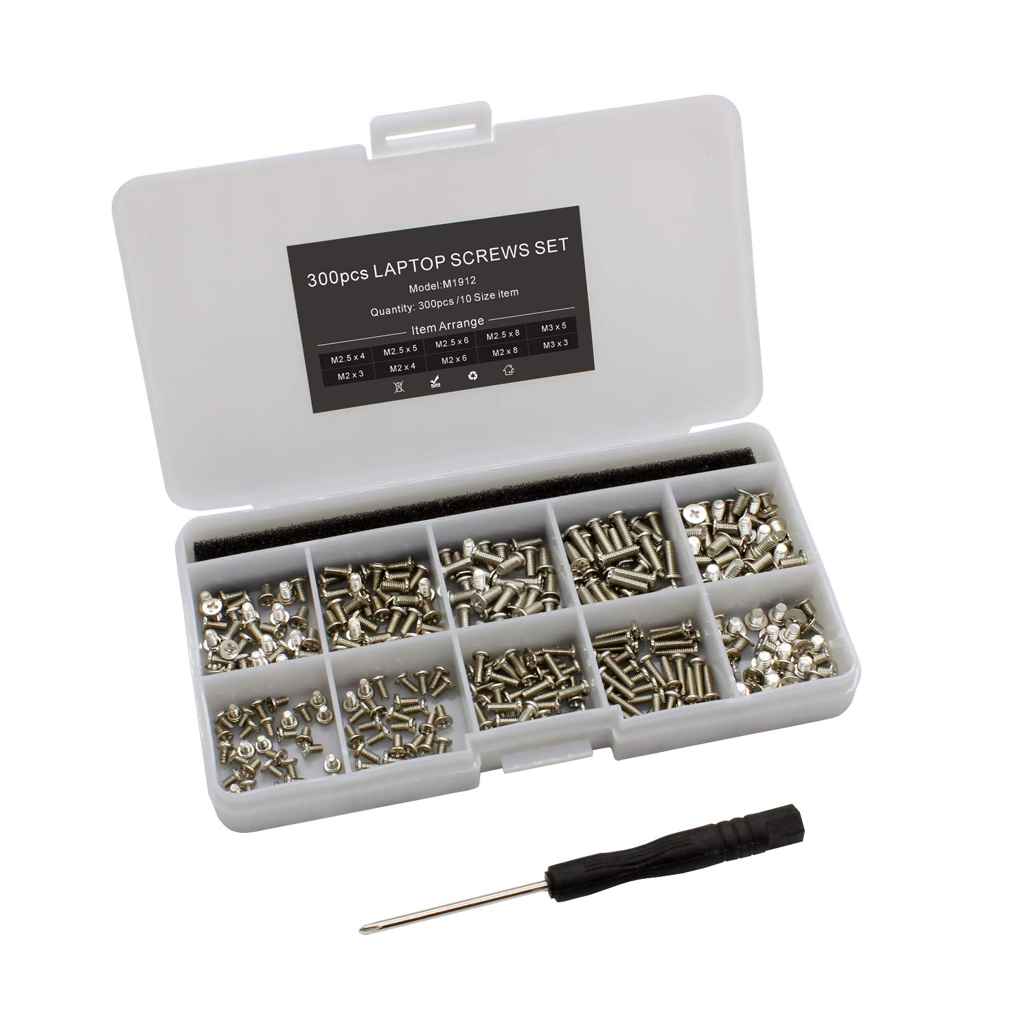Mcsher 300pcs Laptop Notebook Screws Kit Set for HP Dell Lenovo Samsung Sony Toshiba Gateway - Silver